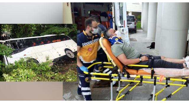 Kontrolden çıkan midibüs yan yattı: 4 yaralı