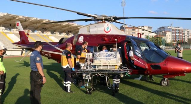 Kırklareli'de ambulans helikopter yeni doğan bebek için havalandı