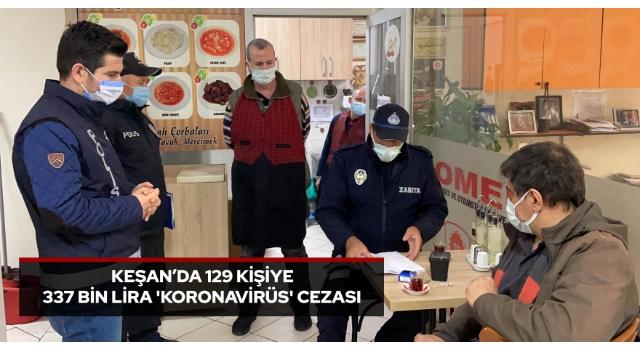 Keşan'da 129 kişiye 337 bin lira 'koronavirüs' cezası