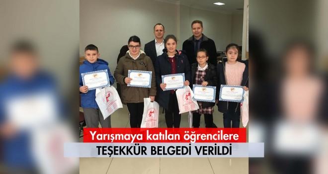 Yarışmaya Katılan Öğrencilere Belge Verildi