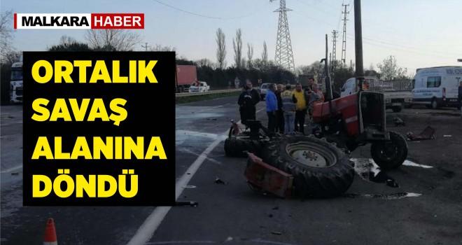 TIR ile Traktör Çarpıştı; 1 Yaralı