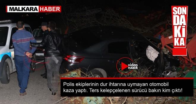 Polisten Kaçan Şüpheli Otomobil Kaza Yaptı! Sürücüsü Ters Kelepçelendi...