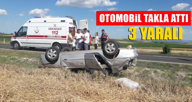 Otomobil Takla Attı; 3 Kişi Yaralandı