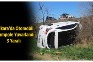 Otomobil Şarampole Yuvarlandı, 3 Yaralı