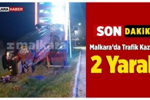 Otomobil Tabelaya Çarptı: 2 Yaralı