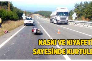 Tankere çarpan motosikletli genç yaralandı