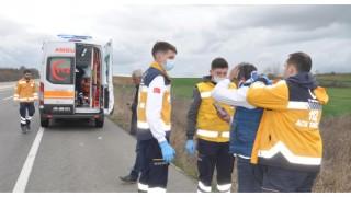 Tekirdağ'da takla atan taksinin sürücüsü yaralandı