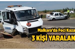 Malkara'da Otomobil ile Kamyonet Çarpıştı; 3 Yaralı