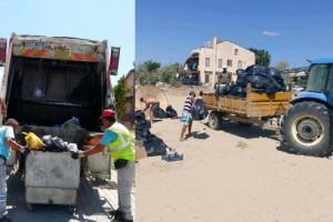 Saros Körfezi'ndeki tatil beldelerinden 100 kamyon çöp toplandı