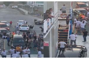 Tekirdağ'da arabalı feribotta sıra kavgası kamerada