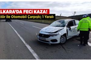 Malkara'da Feci Kaza! Traktör ile Otomobil Çarpıştı; 1 Yaralı
