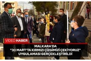 """Malkara'da """"30 Mart'ta Kırmızı Çizgimizi Çekiyoruz"""" Uygulaması Gerçekleştirildi"""