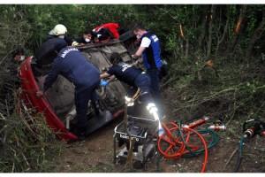 Malkara'da Otomobil Şarampole Devrildi; 1 Yaralı