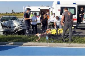 Kazada yaralanıp yerde yatan kurye, sağlığını unutup arkadaşına teslimat bilgilerini verdi