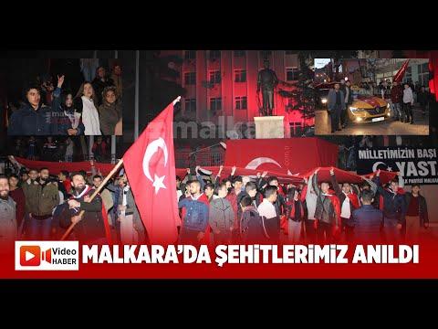 Malkara'da Şehitlerimiz İçin Saygı Yürüyüşü Yapıldı Atatürk Anıtı Önünde Dualar Okundu